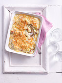 Baked casserole dish on tray