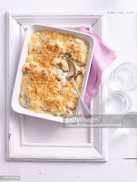 Baked casserole dish on tray