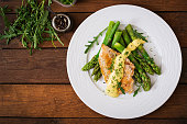 Baked chicken garnished with asparagus and herbs. Top view