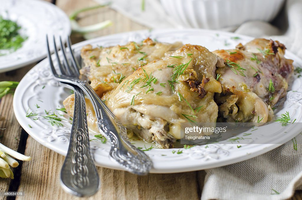 Baked chicken in a dish : Stock Photo