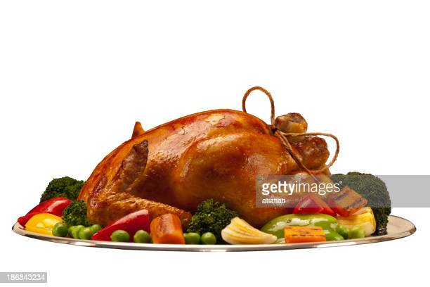 baked chicken or turkey isolated with path on white background