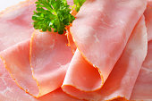 Thin slices of baked ham