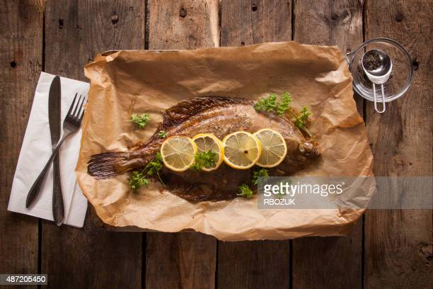Baked Plaice on Wood