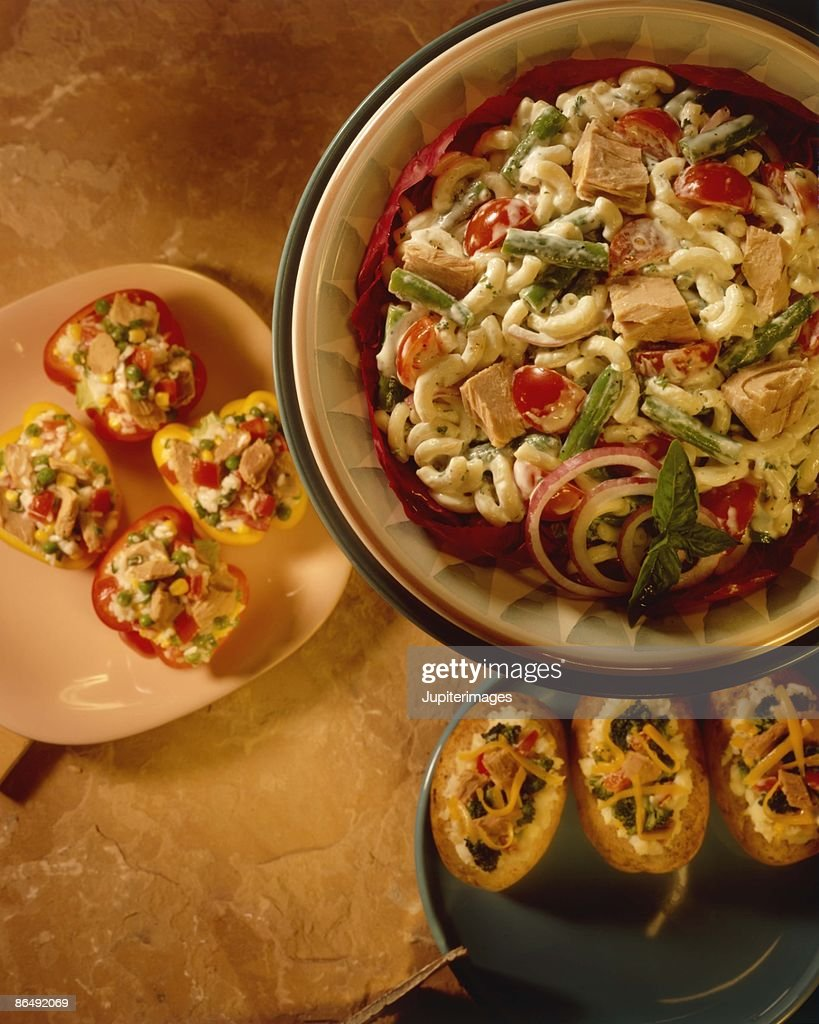 Baked potatoes with pasta salad