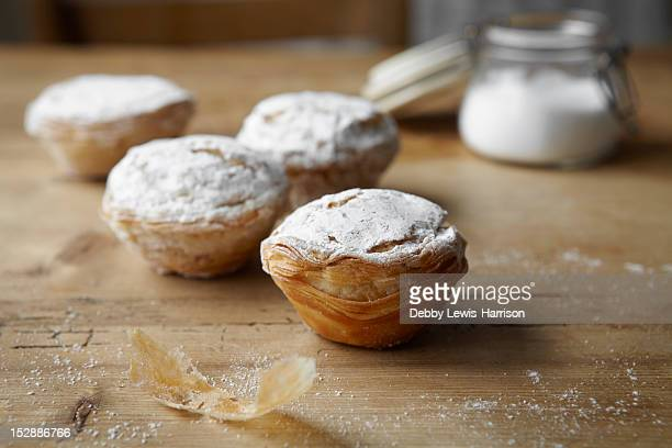 Baked puff pastries on table