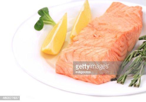 Salmone al forno Bistecca di manzo con rosmarino. : Foto stock