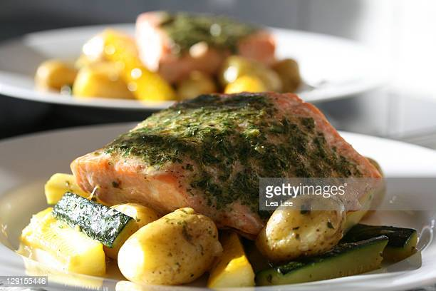 Baked salmon with hurbs butter