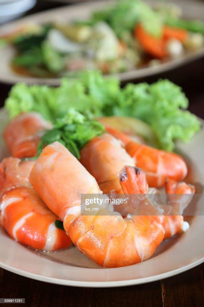 Horneados camarones salado : Foto de stock