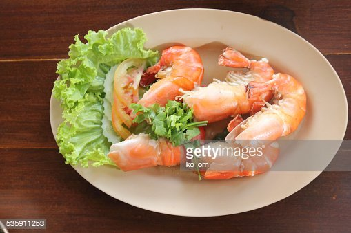 Baked Salted Prawns : Stock Photo