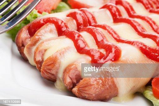 チーズ焼きソーセージ魔女 : ストックフォト