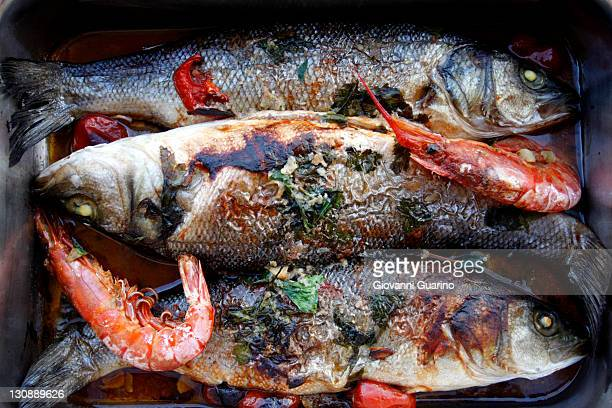 Baked sea-bass and shrimps