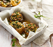 Stuffed mushrooms in a casserole dish