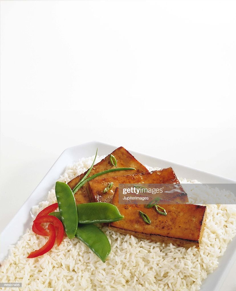 Baked tofu on rice : Stock Photo