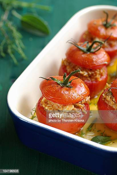 Baked Tomatoes with a mediterranean filling