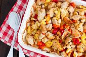 Baked vegetables with turkey fillet in the form, top view, selective focus