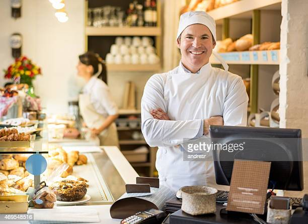 Baker behind the counter at the bakery