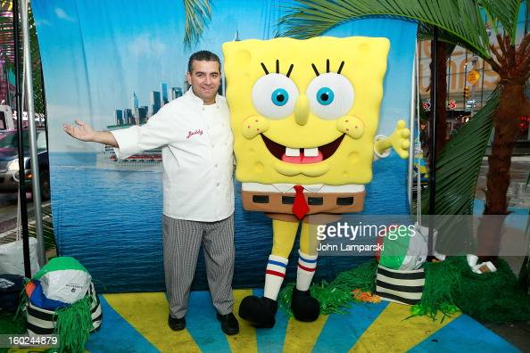 Baker Buddy Valastro and SpongeBob SquarePants attends the Norwegian Warming Station launch in Times Square on January 28 2013 in New York City