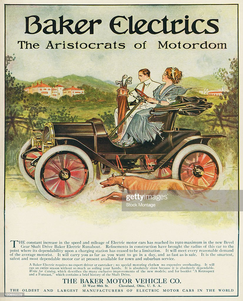 A Baker Electric automobile dashing down a country road is shown in a magazine advertisement from 1910 A woman is driving the car a male passenger...