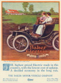 A Baker Electric automobile moving down a country road is shown in a magazine advertisement from 1912 A woman is driving the car a male passenger...