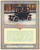 A Baker Electric automobile on a snow covered road is shown in a magazine advertisement from 1914 Four people are seated inside the car