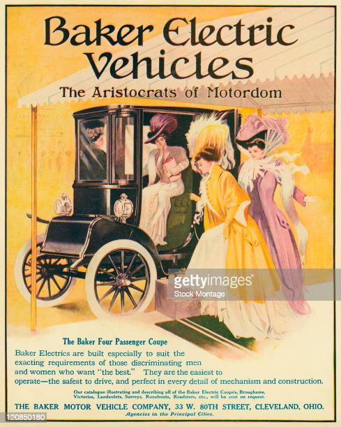 A Baker Electric Coupe automobile and four women are shown in a magazine advertisement from 1908