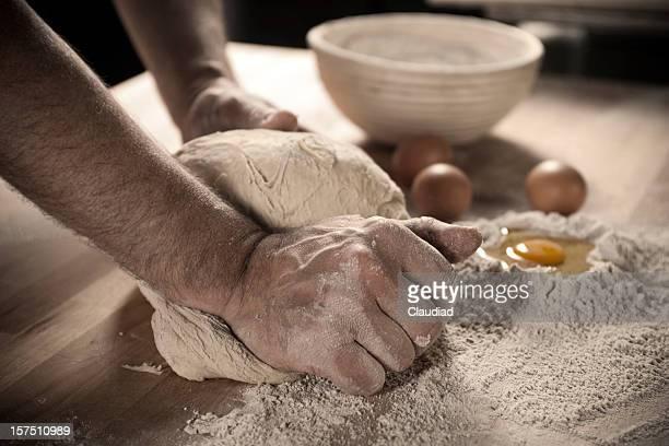 Bäcker Teig kneten Teig