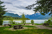 Picnic tables at a campground in Baker Lake, Mount Baker-Snoqualmie National Forest, Washington State, USA