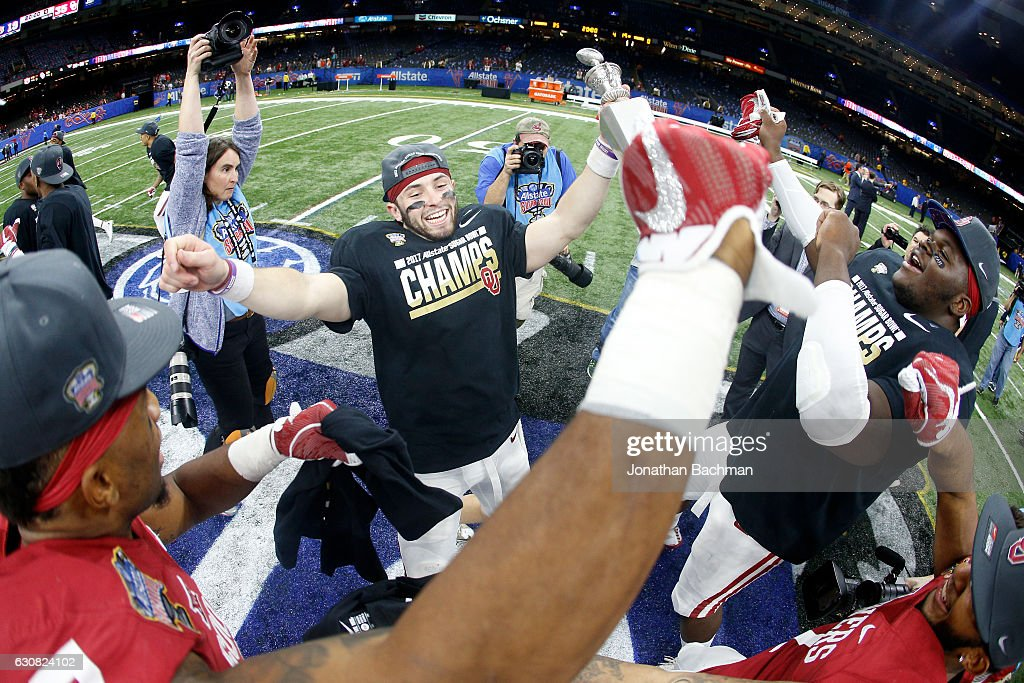 Baker Mayfield #6 of the Oklahoma Sooners celebrates after defeating the Auburn Tigers 35-19 during the Allstate Sugar Bowl at the Mercedes-Benz Superdome on January 2, 2017 in New Orleans, Louisiana.