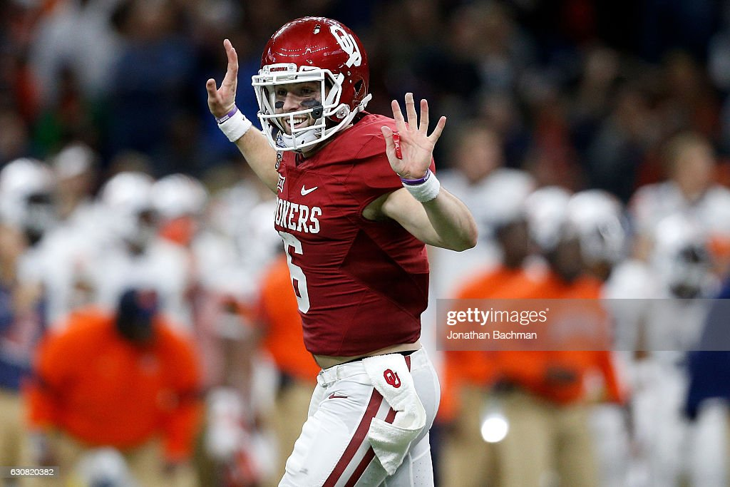 Baker Mayfield #6 of the Oklahoma Sooners reacts after a touchdown against the Auburn Tigers during the Allstate Sugar Bowl at the Mercedes-Benz Superdome on January 2, 2017 in New Orleans, Louisiana.