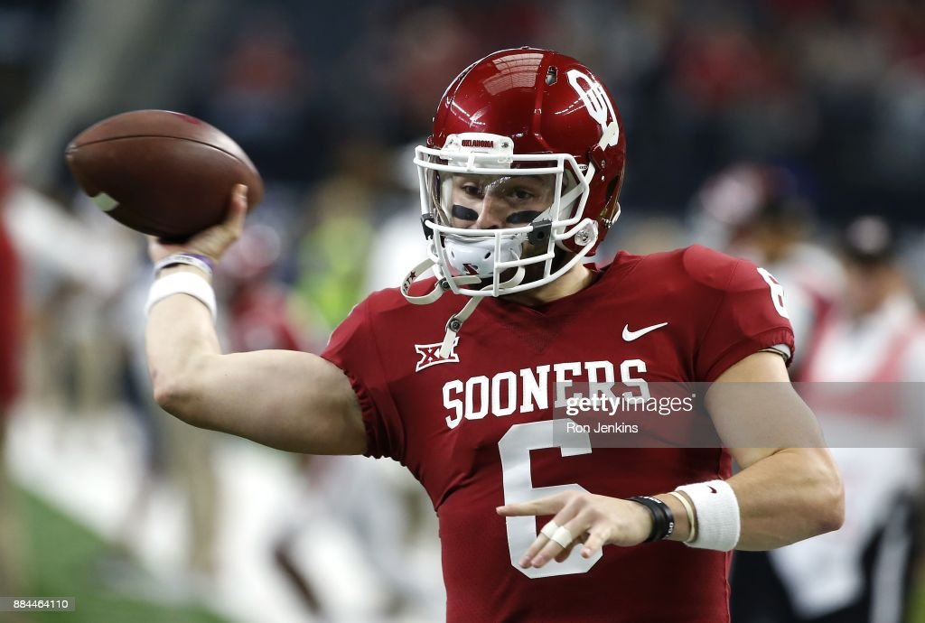 Baker Mayfield #6 of the Oklahoma Sooners throws during warmups before taking on the TCU Horned Frogs in the Big 12 Championship at AT&T Stadium on December 2, 2017 in Arlington, Texas.