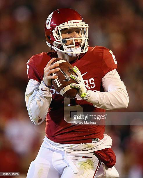 Baker Mayfield of the Oklahoma Sooners throws the ball against the TCU Horned Frogs in the second quarter at Gaylord Family Oklahoma Memorial Stadium...