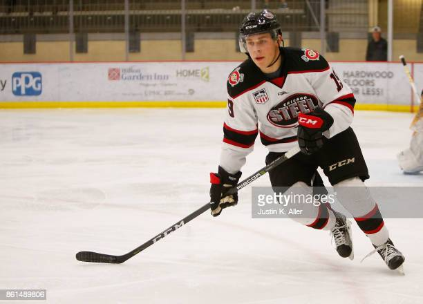 Baker Shore of the Chicago Steel skates during the game against the Lincoln Stars on Day 2 of the USHL Fall Classic at UPMC Lemieux Sports Complex on...