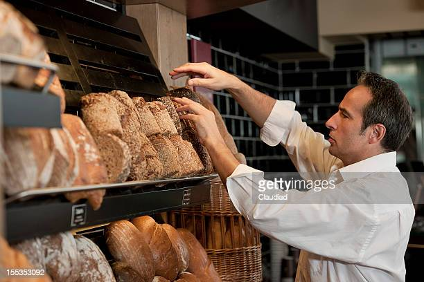 Baker sorting bread