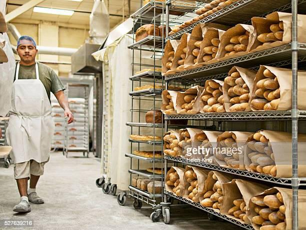 Baker walking in bakery