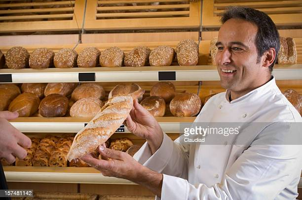 Baker with baguette