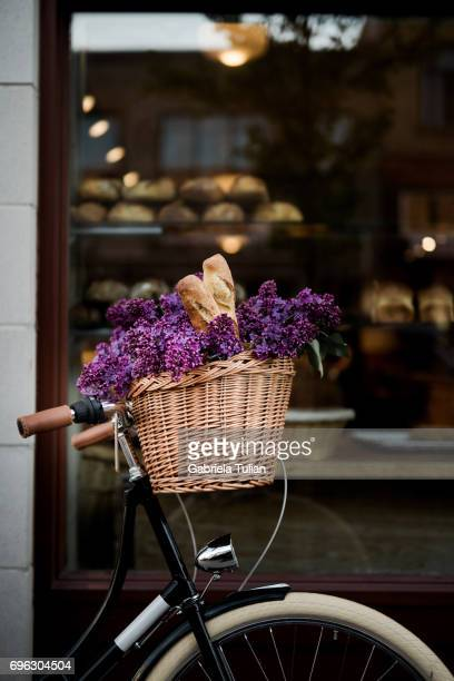 Bakery facade with a parked bicycle