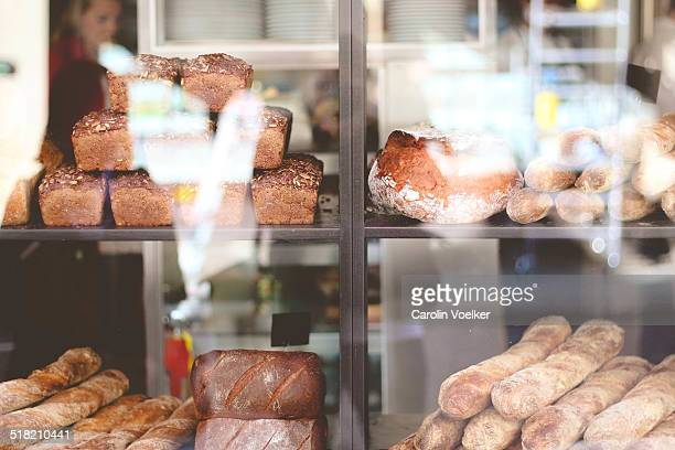 Bakery goods in shop window