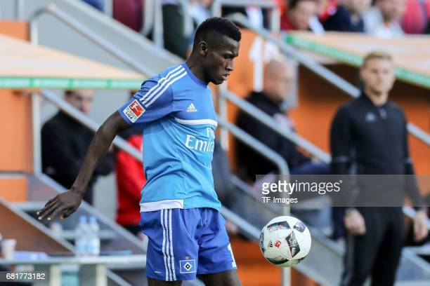 Bakery Jatta of Hamburg controls the ball during the Bundesliga match between FC Augsburg and Hamburger SV at WWK Arena on April 30 2017 in Augsburg...