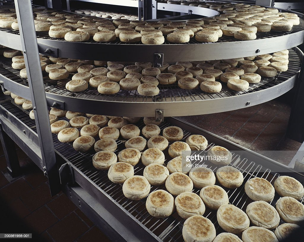 Bakery producing English muffins, elevated view : Stock Photo