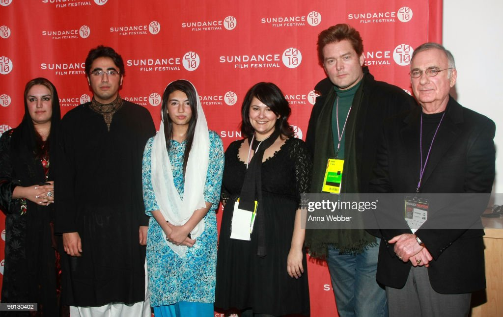 Bakhtawar Bhutto Zardari, <a gi-track='captionPersonalityLinkClicked' href=/galleries/search?phrase=Bilawal+Bhutto+Zardari&family=editorial&specificpeople=4779537 ng-click='$event.stopPropagation()'>Bilawal Bhutto Zardari</a>, Aseefa Bhutto Zardari, co-directors Jessica Hernandez, and Johnny O'Hara attend the 'Bhutto' premiere during the 2010 Sundance Film Festival at Temple Theater on January 23, 2010 in Park City, Utah.