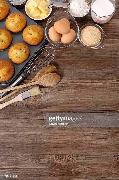 Baking background with freshly baked muffins