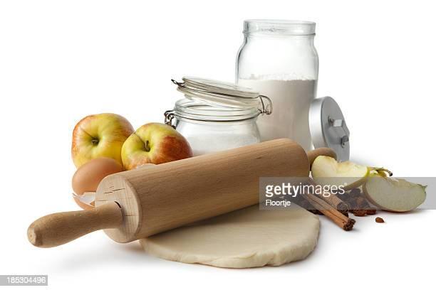 Backen Zutaten: Apple Pie (Eier, Mehl, Zucker, Äpfeln, Rosinen und Zimt