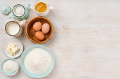 Baking ingredients background, baking concept, top view with copy space