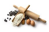 Baking Ingredients: Blueberry Pie (Flour, Eggs, Blueberries and Sugar)