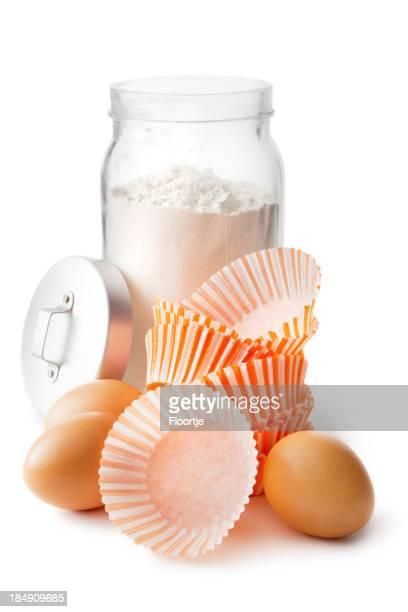Cottura ingredienti: Tazze di farina, uova e