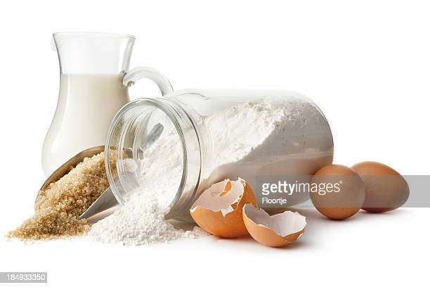 Baking Ingredients: Eggs, Sugar, Flour and Milk