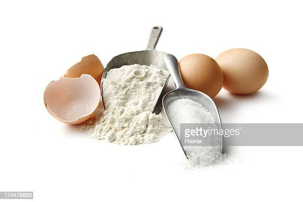 Baking Ingredients: Flour, Eggs and Sugar