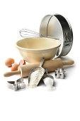 'Baking Ingredients: Flour, Eggs, Sugar and Equipment'
