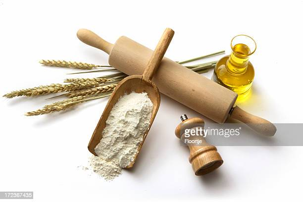 Baking Ingredients: Flour, Wheat, Olive Oil and Salt