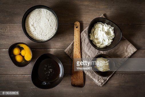 Baking ingredients of gluten-free and sugar-free rhubarb cake, elevated view